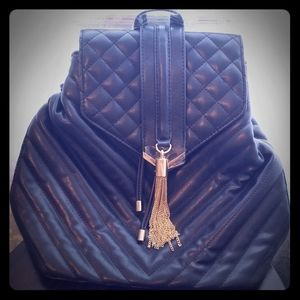 Aldo Black Quilted Mini Backpack